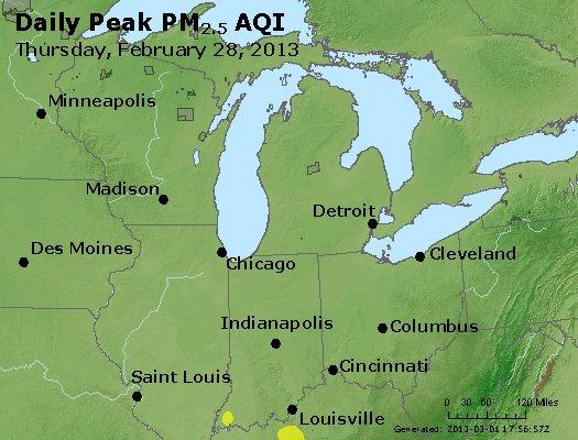 Peak Particles PM<sub>2.5</sub> (24-hour) - http://files.airnowtech.org/airnow/2013/20130228/peak_pm25_mi_in_oh.jpg