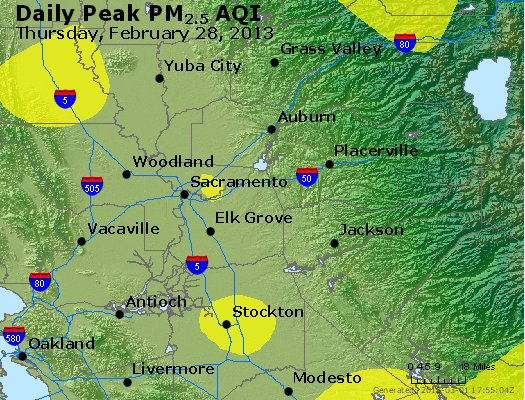 Peak Particles PM<sub>2.5</sub> (24-hour) - http://files.airnowtech.org/airnow/2013/20130228/peak_pm25_sacramento_ca.jpg