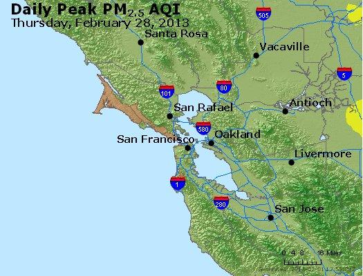 Peak Particles PM<sub>2.5</sub> (24-hour) - http://files.airnowtech.org/airnow/2013/20130228/peak_pm25_sanfrancisco_ca.jpg