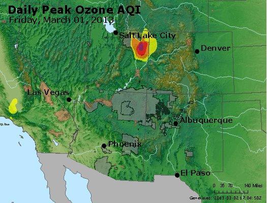 Peak Ozone (8-hour) - http://files.airnowtech.org/airnow/2013/20130301/peak_o3_co_ut_az_nm.jpg