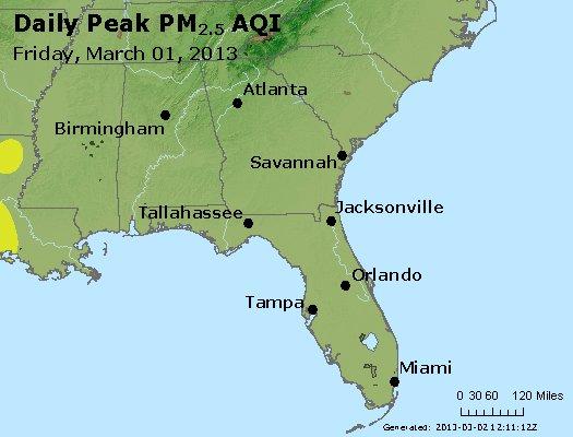 Peak Particles PM<sub>2.5</sub> (24-hour) - http://files.airnowtech.org/airnow/2013/20130301/peak_pm25_al_ga_fl.jpg