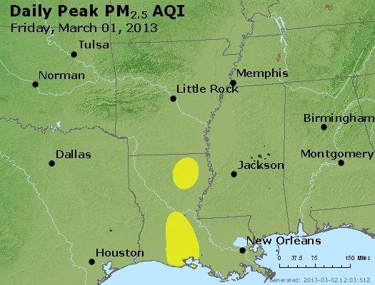 Peak Particles PM<sub>2.5</sub> (24-hour) - http://files.airnowtech.org/airnow/2013/20130301/peak_pm25_ar_la_ms.jpg