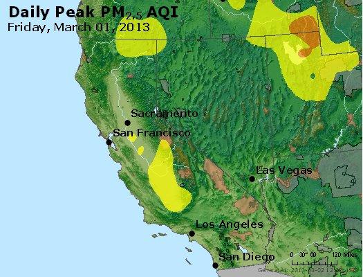 Peak Particles PM<sub>2.5</sub> (24-hour) - http://files.airnowtech.org/airnow/2013/20130301/peak_pm25_ca_nv.jpg