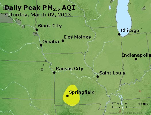 Peak Particles PM<sub>2.5</sub> (24-hour) - http://files.airnowtech.org/airnow/2013/20130302/peak_pm25_ia_il_mo.jpg