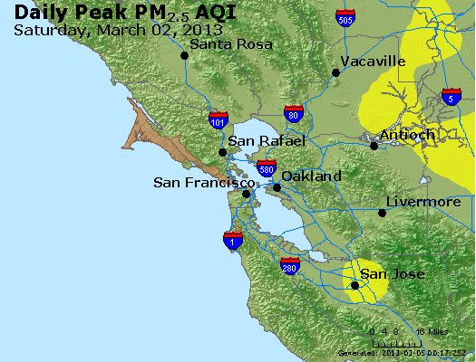 Peak Particles PM<sub>2.5</sub> (24-hour) - http://files.airnowtech.org/airnow/2013/20130302/peak_pm25_sanfrancisco_ca.jpg