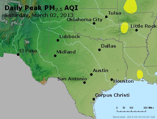 Peak Particles PM<sub>2.5</sub> (24-hour) - http://files.airnowtech.org/airnow/2013/20130302/peak_pm25_tx_ok.jpg