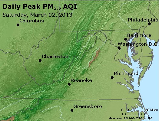 Peak Particles PM<sub>2.5</sub> (24-hour) - http://files.airnowtech.org/airnow/2013/20130302/peak_pm25_va_wv_md_de_dc.jpg