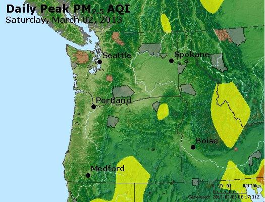 Peak Particles PM<sub>2.5</sub> (24-hour) - http://files.airnowtech.org/airnow/2013/20130302/peak_pm25_wa_or.jpg