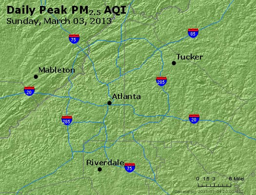 Peak Particles PM<sub>2.5</sub> (24-hour) - http://files.airnowtech.org/airnow/2013/20130303/peak_pm25_atlanta_ga.jpg