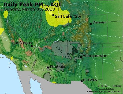 Peak Particles PM<sub>2.5</sub> (24-hour) - http://files.airnowtech.org/airnow/2013/20130303/peak_pm25_co_ut_az_nm.jpg