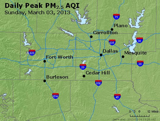 Peak Particles PM<sub>2.5</sub> (24-hour) - http://files.airnowtech.org/airnow/2013/20130303/peak_pm25_dallas_tx.jpg