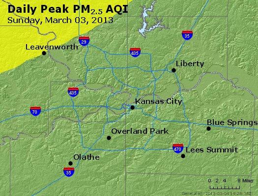 Peak Particles PM<sub>2.5</sub> (24-hour) - http://files.airnowtech.org/airnow/2013/20130303/peak_pm25_kansascity_mo.jpg