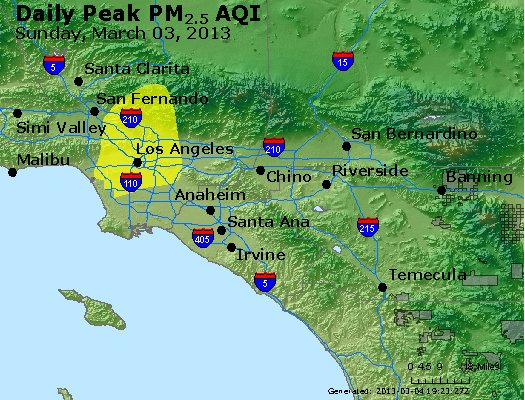 Peak Particles PM<sub>2.5</sub> (24-hour) - http://files.airnowtech.org/airnow/2013/20130303/peak_pm25_losangeles_ca.jpg