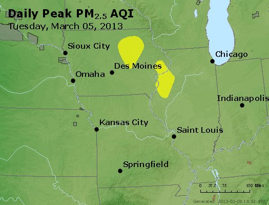 Peak Particles PM<sub>2.5</sub> (24-hour) - http://files.airnowtech.org/airnow/2013/20130305/peak_pm25_ia_il_mo.jpg