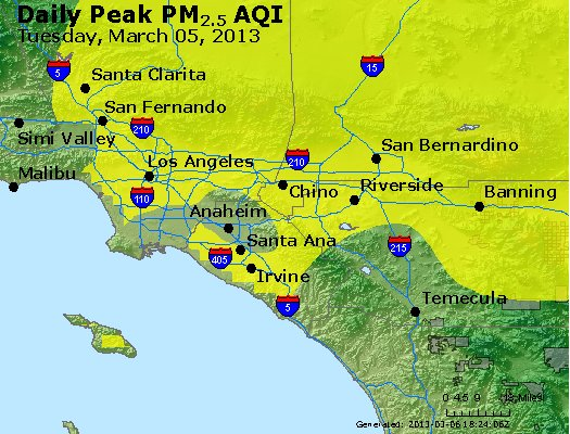 Peak Particles PM<sub>2.5</sub> (24-hour) - http://files.airnowtech.org/airnow/2013/20130305/peak_pm25_losangeles_ca.jpg