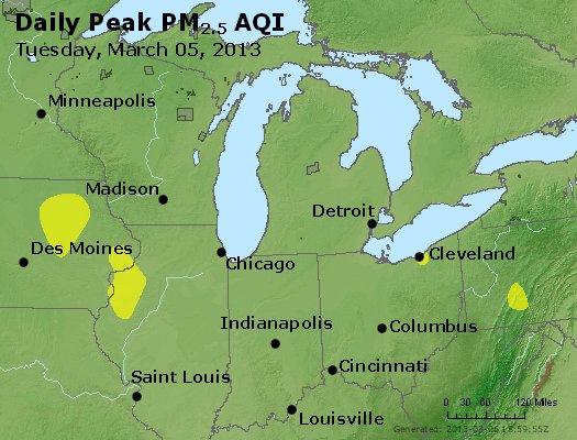 Peak Particles PM<sub>2.5</sub> (24-hour) - http://files.airnowtech.org/airnow/2013/20130305/peak_pm25_mi_in_oh.jpg