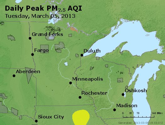 Peak Particles PM<sub>2.5</sub> (24-hour) - http://files.airnowtech.org/airnow/2013/20130305/peak_pm25_mn_wi.jpg