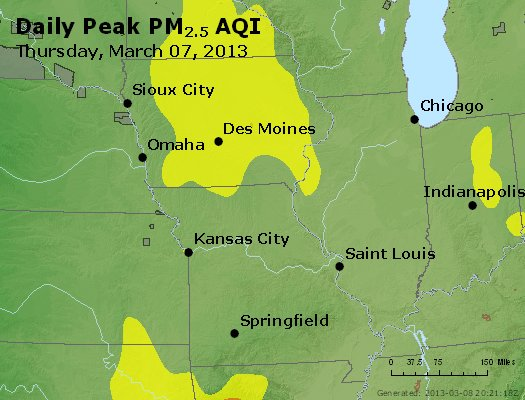 Peak Particles PM<sub>2.5</sub> (24-hour) - http://files.airnowtech.org/airnow/2013/20130307/peak_pm25_ia_il_mo.jpg