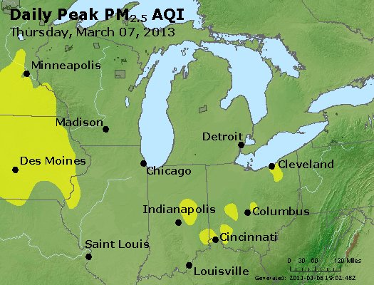 Peak Particles PM<sub>2.5</sub> (24-hour) - http://files.airnowtech.org/airnow/2013/20130307/peak_pm25_mi_in_oh.jpg