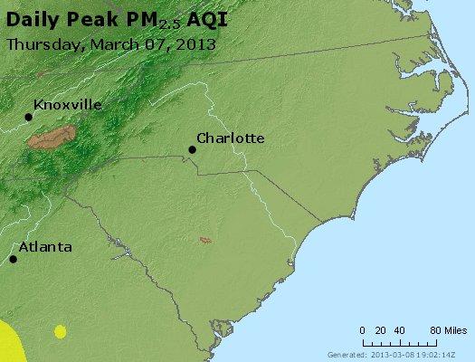 Peak Particles PM<sub>2.5</sub> (24-hour) - http://files.airnowtech.org/airnow/2013/20130307/peak_pm25_nc_sc.jpg