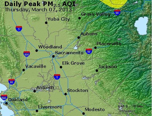 Peak Particles PM<sub>2.5</sub> (24-hour) - http://files.airnowtech.org/airnow/2013/20130307/peak_pm25_sacramento_ca.jpg