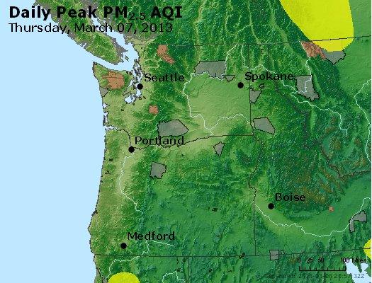 Peak Particles PM<sub>2.5</sub> (24-hour) - http://files.airnowtech.org/airnow/2013/20130307/peak_pm25_wa_or.jpg