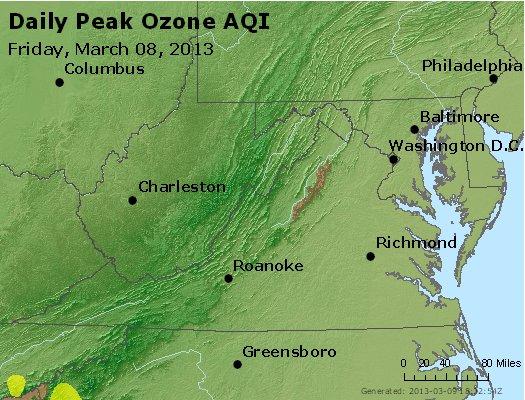 Peak Ozone (8-hour) - http://files.airnowtech.org/airnow/2013/20130308/peak_o3_va_wv_md_de_dc.jpg
