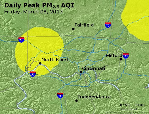 Peak Particles PM<sub>2.5</sub> (24-hour) - http://files.airnowtech.org/airnow/2013/20130308/peak_pm25_cincinnati_oh.jpg
