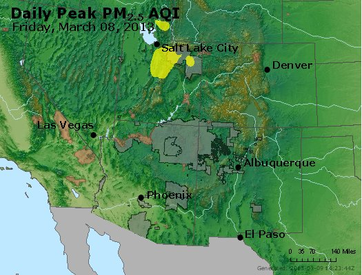 Peak Particles PM<sub>2.5</sub> (24-hour) - http://files.airnowtech.org/airnow/2013/20130308/peak_pm25_co_ut_az_nm.jpg