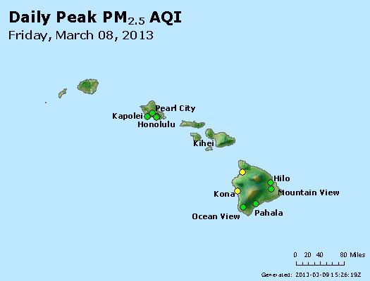 Peak Particles PM<sub>2.5</sub> (24-hour) - http://files.airnowtech.org/airnow/2013/20130308/peak_pm25_hawaii.jpg