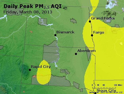 Peak Particles PM<sub>2.5</sub> (24-hour) - http://files.airnowtech.org/airnow/2013/20130308/peak_pm25_nd_sd.jpg