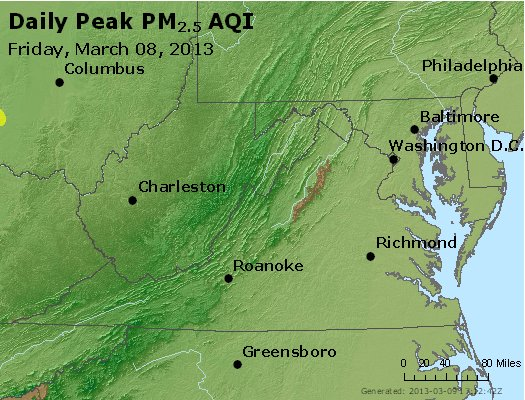 Peak Particles PM<sub>2.5</sub> (24-hour) - http://files.airnowtech.org/airnow/2013/20130308/peak_pm25_va_wv_md_de_dc.jpg