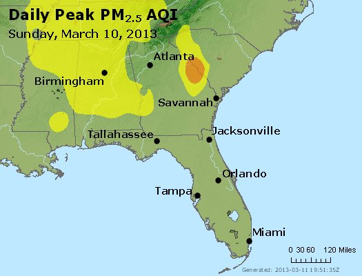 Peak Particles PM<sub>2.5</sub> (24-hour) - http://files.airnowtech.org/airnow/2013/20130310/peak_pm25_al_ga_fl.jpg