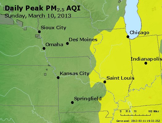 Peak Particles PM<sub>2.5</sub> (24-hour) - http://files.airnowtech.org/airnow/2013/20130310/peak_pm25_ia_il_mo.jpg