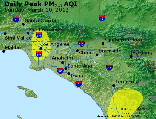 Peak Particles PM<sub>2.5</sub> (24-hour) - http://files.airnowtech.org/airnow/2013/20130310/peak_pm25_losangeles_ca.jpg