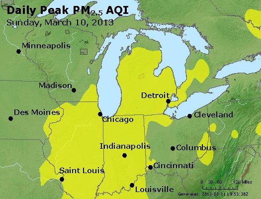 Peak Particles PM<sub>2.5</sub> (24-hour) - http://files.airnowtech.org/airnow/2013/20130310/peak_pm25_mi_in_oh.jpg
