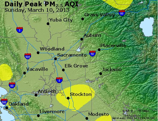 Peak Particles PM<sub>2.5</sub> (24-hour) - http://files.airnowtech.org/airnow/2013/20130310/peak_pm25_sacramento_ca.jpg