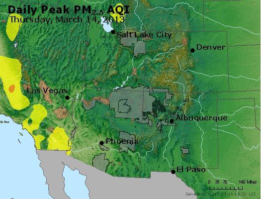 Peak Particles PM<sub>2.5</sub> (24-hour) - http://files.airnowtech.org/airnow/2013/20130314/peak_pm25_co_ut_az_nm.jpg