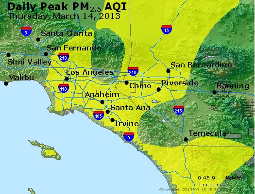 Peak Particles PM<sub>2.5</sub> (24-hour) - http://files.airnowtech.org/airnow/2013/20130314/peak_pm25_losangeles_ca.jpg