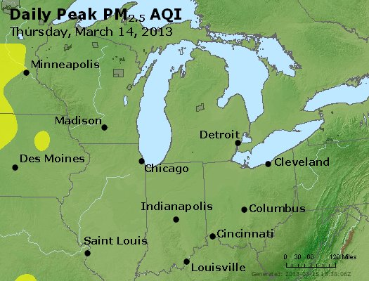 Peak Particles PM<sub>2.5</sub> (24-hour) - http://files.airnowtech.org/airnow/2013/20130314/peak_pm25_mi_in_oh.jpg