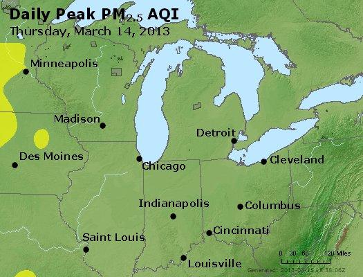 Peak Particles PM<sub>2.5</sub> (24-hour) - http://files.airnowtech.org/airnow/2013/20130314/peak_pm25_mi_in_oh.jpg