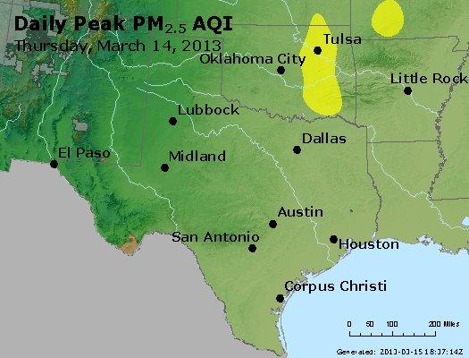 Peak Particles PM<sub>2.5</sub> (24-hour) - http://files.airnowtech.org/airnow/2013/20130314/peak_pm25_tx_ok.jpg