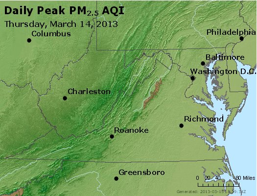 Peak Particles PM<sub>2.5</sub> (24-hour) - http://files.airnowtech.org/airnow/2013/20130314/peak_pm25_va_wv_md_de_dc.jpg