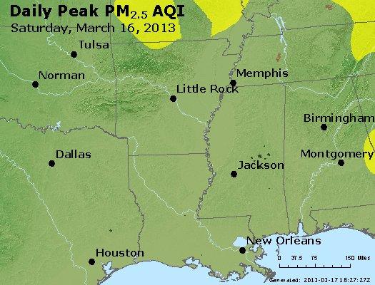 Peak Particles PM<sub>2.5</sub> (24-hour) - http://files.airnowtech.org/airnow/2013/20130316/peak_pm25_ar_la_ms.jpg