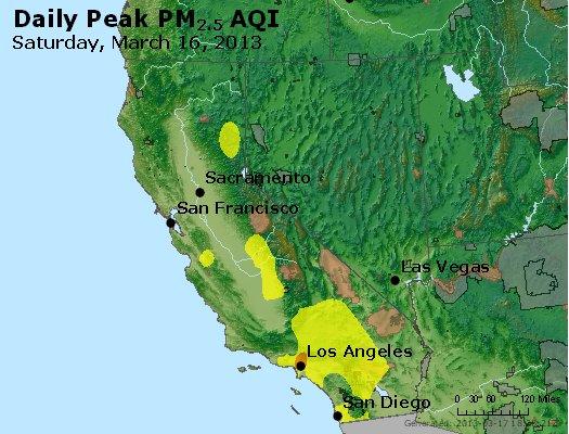 Peak Particles PM<sub>2.5</sub> (24-hour) - http://files.airnowtech.org/airnow/2013/20130316/peak_pm25_ca_nv.jpg