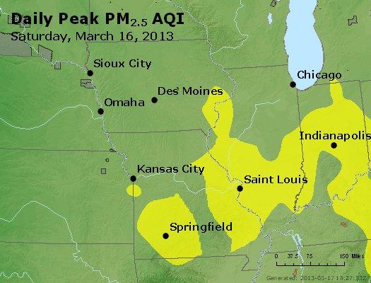 Peak Particles PM<sub>2.5</sub> (24-hour) - http://files.airnowtech.org/airnow/2013/20130316/peak_pm25_ia_il_mo.jpg