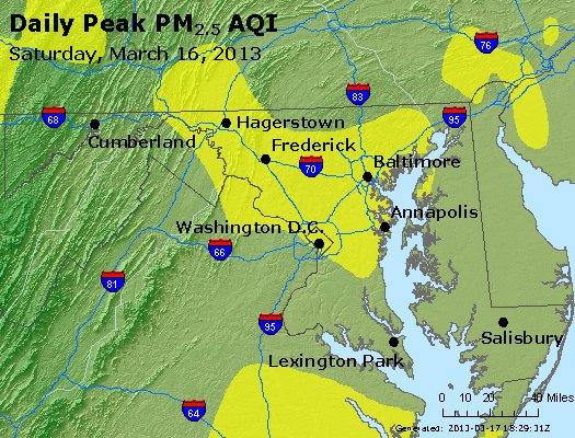 Peak Particles PM<sub>2.5</sub> (24-hour) - http://files.airnowtech.org/airnow/2013/20130316/peak_pm25_maryland.jpg