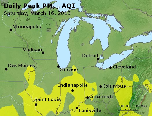 Peak Particles PM<sub>2.5</sub> (24-hour) - http://files.airnowtech.org/airnow/2013/20130316/peak_pm25_mi_in_oh.jpg