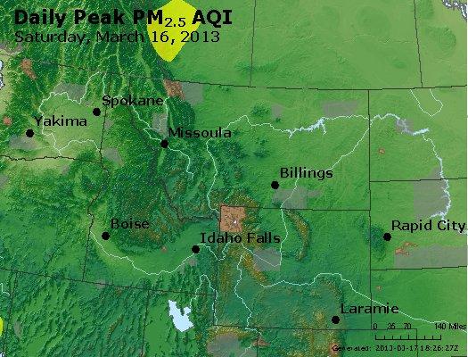 Peak Particles PM<sub>2.5</sub> (24-hour) - http://files.airnowtech.org/airnow/2013/20130316/peak_pm25_mt_id_wy.jpg