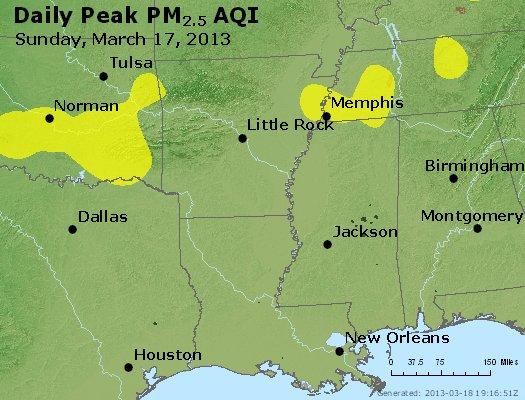 Peak Particles PM<sub>2.5</sub> (24-hour) - http://files.airnowtech.org/airnow/2013/20130317/peak_pm25_ar_la_ms.jpg